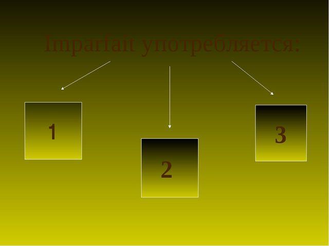 Imparfait употребляется: 1 2 3