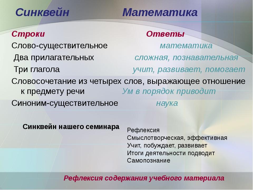 Синквейн Математика Строки Ответы Слово-существительное математика Два прилаг...