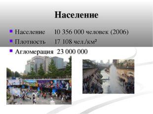 Население Население 10 356 000человек(2006) Плотность 17 108чел./км² Аглом