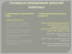 Основные направления внешней политики 1. Нормализация отношений Восток - Запа
