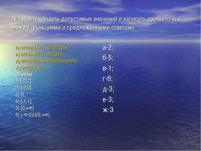 №1 Найти область допустимых значений и записать соответствие между функциями...