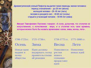 Древнегреческий ученый Пифагор выделял такие периоды жизни человека: период с