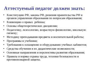Аттестуемый педагог должен знать: Конституцию РФ, законы РФ, решения правител