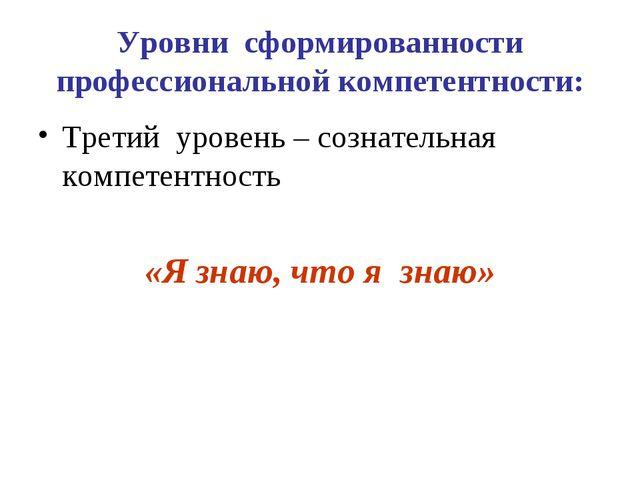 Уровни сформированности профессиональной компетентности: Третий уровень – соз...