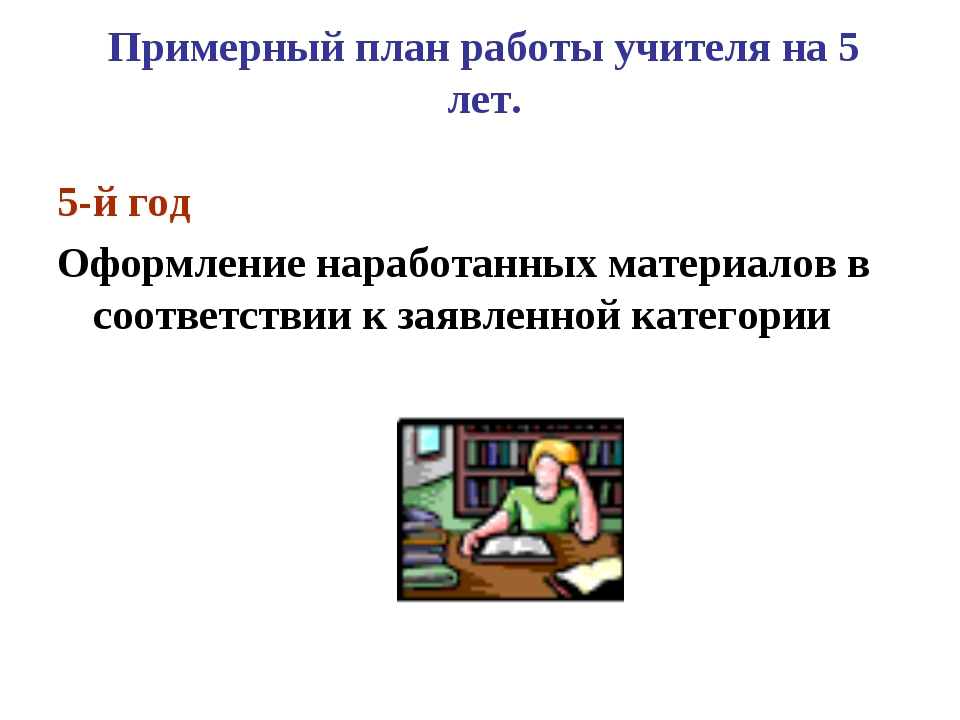 Примерный план работы учителя на 5 лет. 5-й год Оформление наработанных матер...