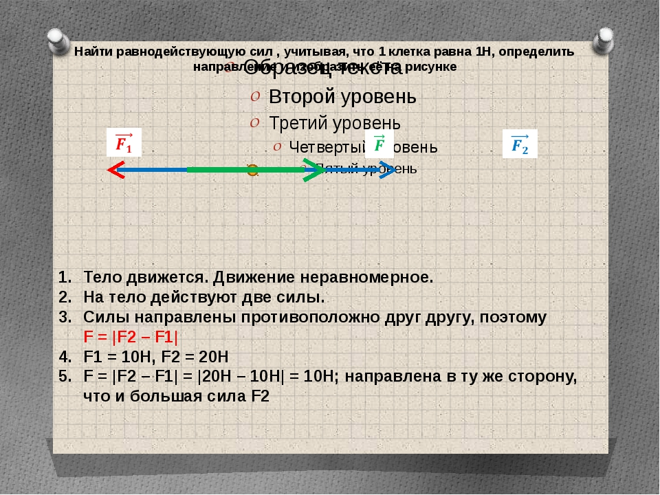 Найти равнодействующую сил , учитывая, что 1 клетка равна 1Н, определить напр...
