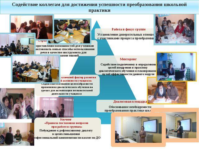 Содействие коллегам для достижения успешности преобразования школьной практик...