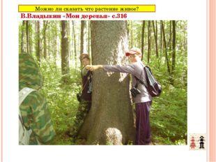 Растение –живой организм В.Владыкин «Мои деревья» с.316 Можно ли сказать что
