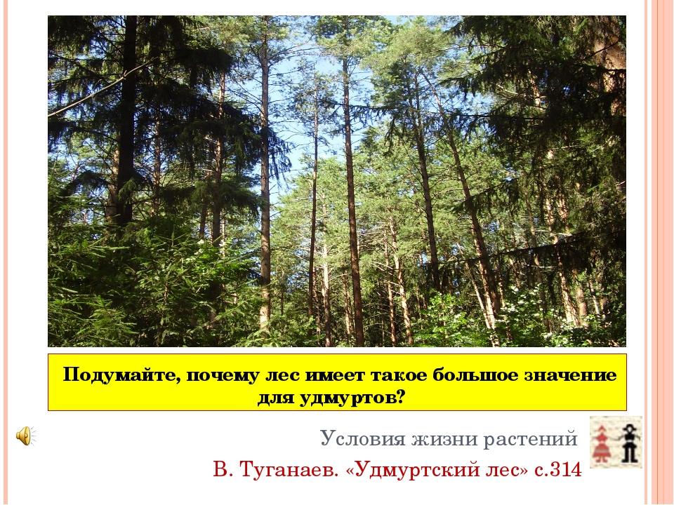Подумайте, почему лес имеет такое большое значение для удмуртов? Условия жиз...
