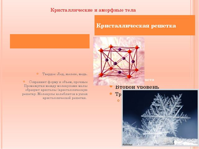 Кристаллические и аморфные тела Кристаллическая решетка Твердое: Лед, железо,...