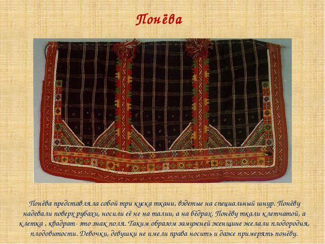 Понёва Понёва представляла собой три куска ткани, вздетые на специальный шнур...