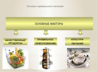 Основы правильного питания ОСНОВНЫЕ ФАКТОРЫ КАЧЕСТВЕННЫЕ ПРОДУКТЫ ПРАВИЛЬНОЕ