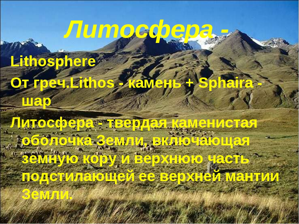 Литосфера - Lithosphere От греч.Lithos - камень + Sphaira - шар Литосфера - т...