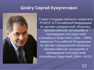 Шойгу Сергей Кужугетович Глава Государственного комитета РСФСР и Российской Ф