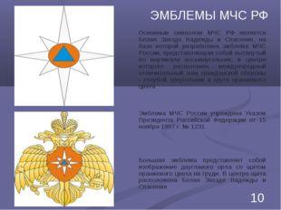 ЭМБЛЕМЫ МЧС РФ Основным символом МЧС РФ является Белая Звезда Надежды и Спасе