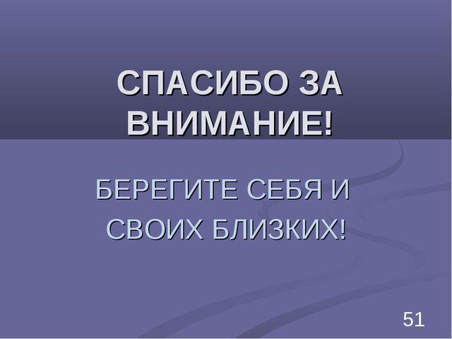 СПАСИБО ЗА ВНИМАНИЕ! БЕРЕГИТЕ СЕБЯ И СВОИХ БЛИЗКИХ! *