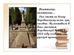 Памятники, памятники… Они стоят по всему Бородинскому полю, как часовые. Их
