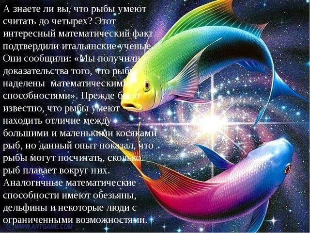 А знаете ли вы, что рыбы умеют считать до четырех? Этот интересный математиче...