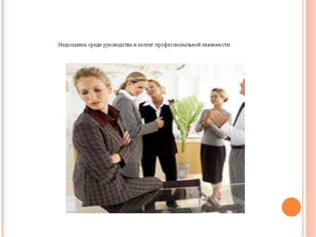 Недооценка среди руководства и коллег профессиональной значимости