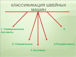 КЛАССИФИКАЦИЯ ШВЕЙНЫХ МАШИН 1. Универсальные 5. Автоматы 2. Специальные 4.Пол