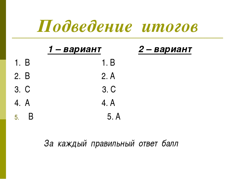 Подведение итогов 1 – вариант 2 – вариант 1. B 1. B 2. B 2. A 3. C 3. C 4. A...