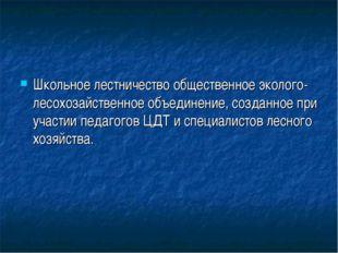 Школьное лестничество общественное эколого-лесохозайственное объединение, соз