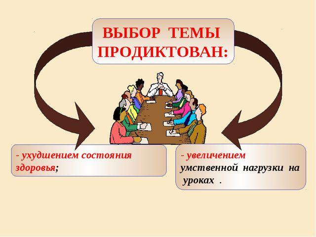 - ухудшением состояния здоровья; - увеличением умственной нагрузки на уроках...