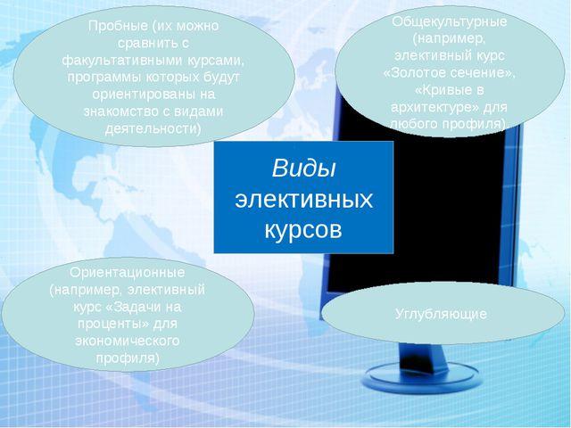 Виды элективных курсов Ориентационные (например, элективный курс «Задачи на п...