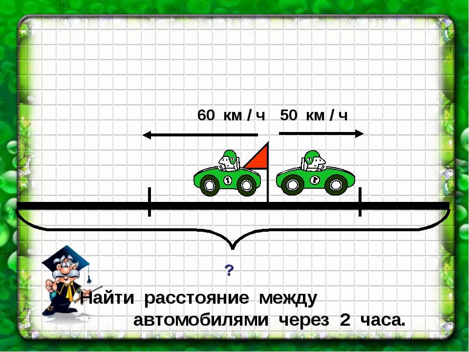 Найти расстояние между автомобилями через 2 часа.