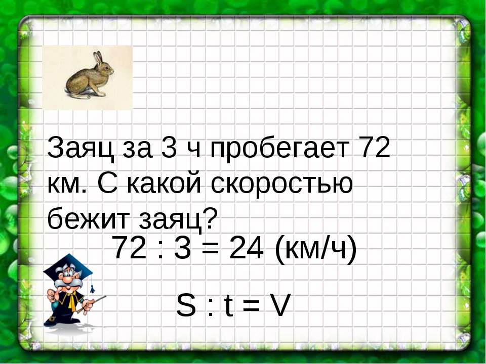 Заяц за 3 ч пробегает 72 км. С какой скоростью бежит заяц? 72 : 3 = 24 (км/ч)...