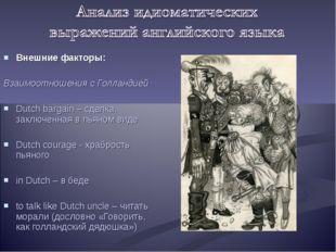 Внешние факторы: Взаимоотношения с Голландией Dutch bargain – сделка, заключе