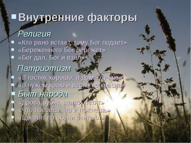 Внутренние факторы  Религия «Кто рано встает, тому Бог подает» «Береженного...