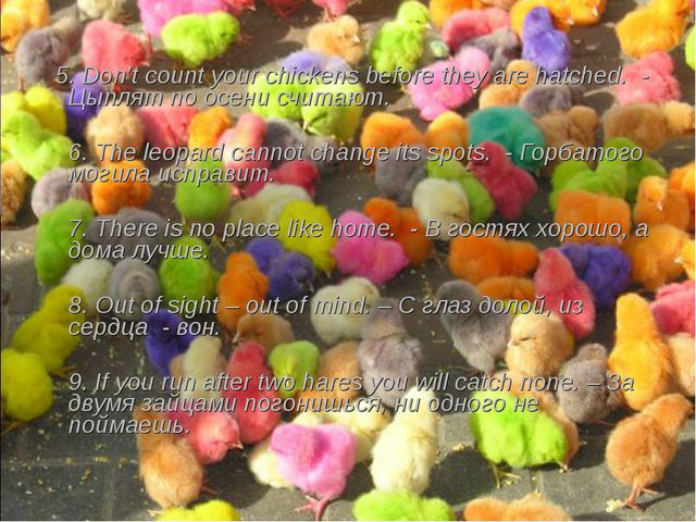 5. Don't count your chickens before they are hatched. - Цыплят по осени счит...