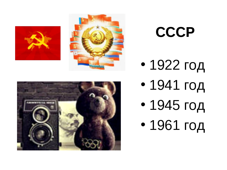 СССР 1922 год 1941 год 1945 год 1961 год