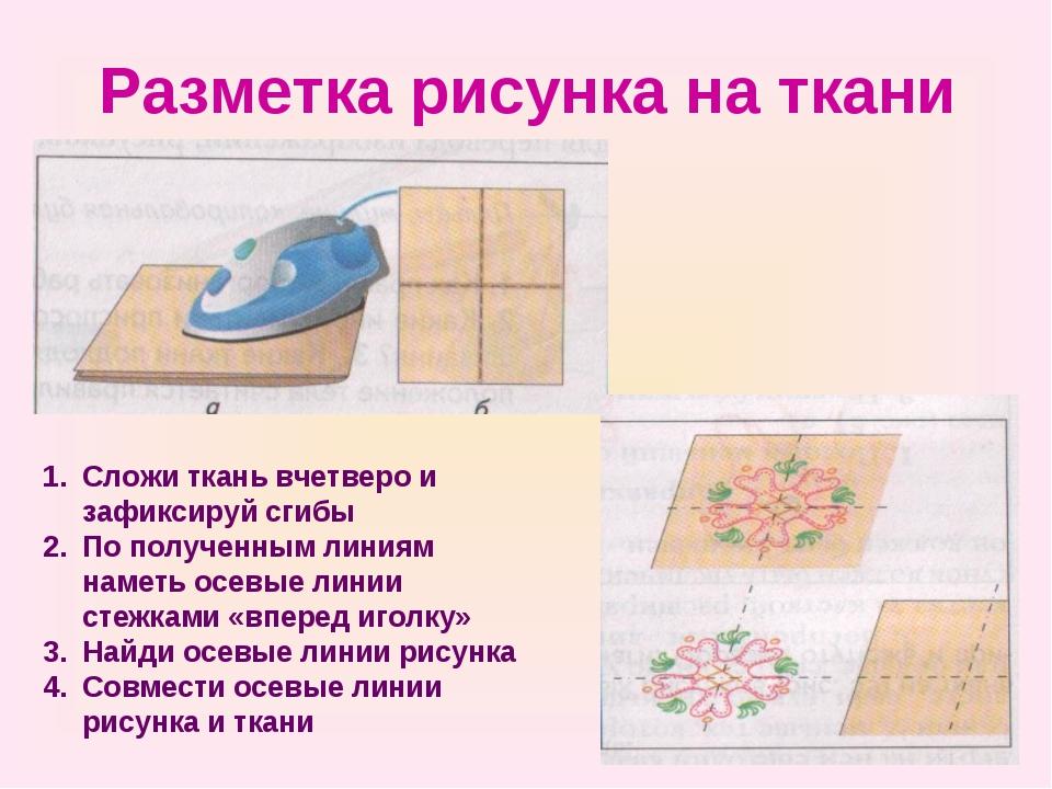 Разметка рисунка на ткани Сложи ткань вчетверо и зафиксируй сгибы По полученн...