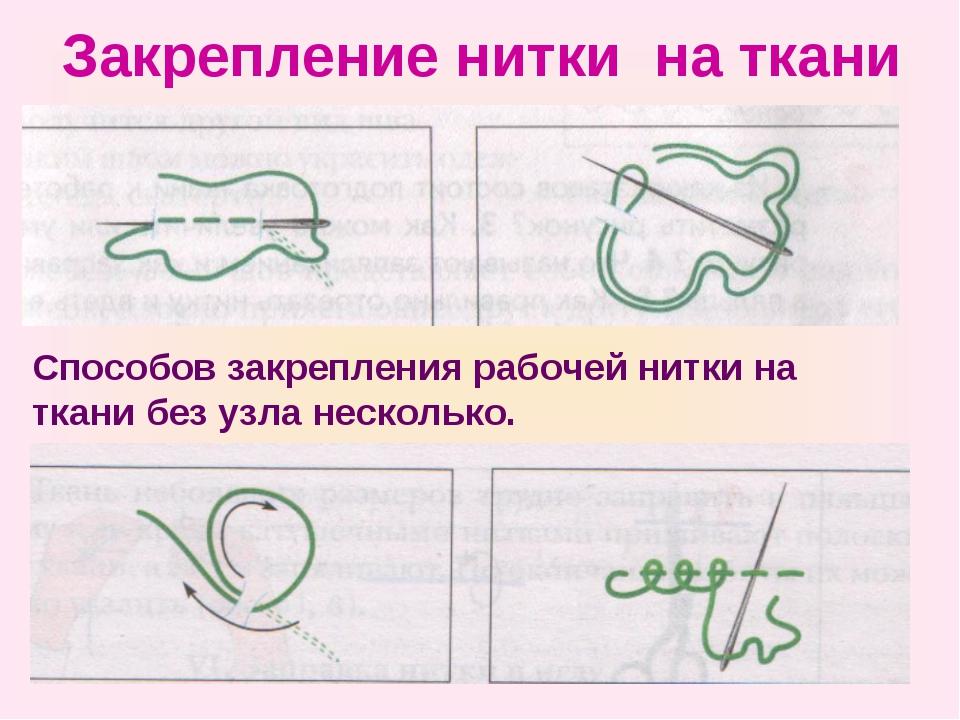Закрепление нитки на ткани Способов закрепления рабочей нитки на ткани без уз...