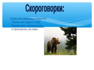 Прорычал медведь в берлоге, Промычал сурок в норе. Промычали, промолчали и п