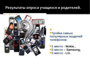 Тройка самых популярных моделей телефонов: 1 место - Nokia , 2 место – Samsu