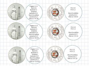 Радиус=2,5 Высота выемки=2 Ширина выемки=0,5 Высота ребра монеты=0,3 Масса =4