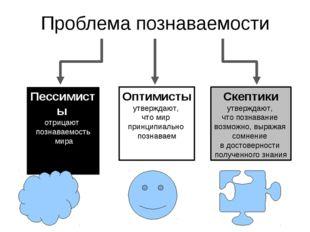Проблема познаваемости Пессимисты отрицают познаваемость мира Оптимисты утвер