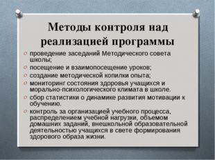 Методы контроля над реализацией программы проведение заседаний Методического