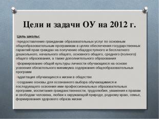 Цели и задачи ОУ на 2012 г. Цель школы: предоставление гражданам образовател