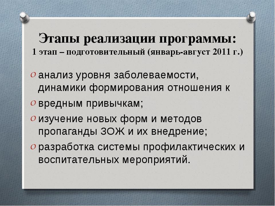 Этапы реализации программы: 1 этап – подготовительный (январь-август 2011 г.)...