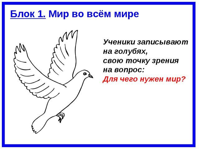 Ученики записывают на голубях, свою точку зрения на вопрос: Для чего нужен ми...