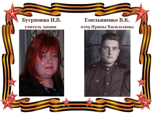 Бугримова И.В. Емельяненко В.К. учитель химии отец Ирины Васильевны