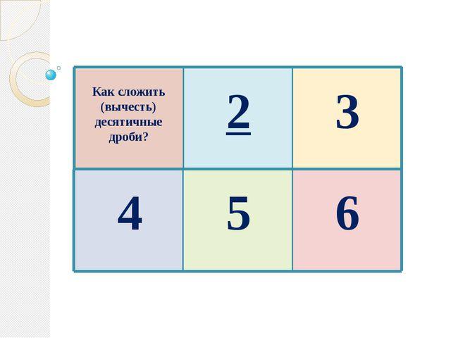 Как сложить (вычесть) десятичные дроби? 2 3 4 5 6