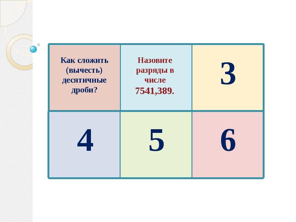 Как сложить (вычесть) десятичные дроби? Назовите разряды в числе 7541,389. 3...