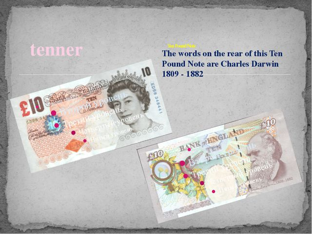 tenner Ten Pound Note 			 The words on the rear of this Ten Pound Note are Ch...