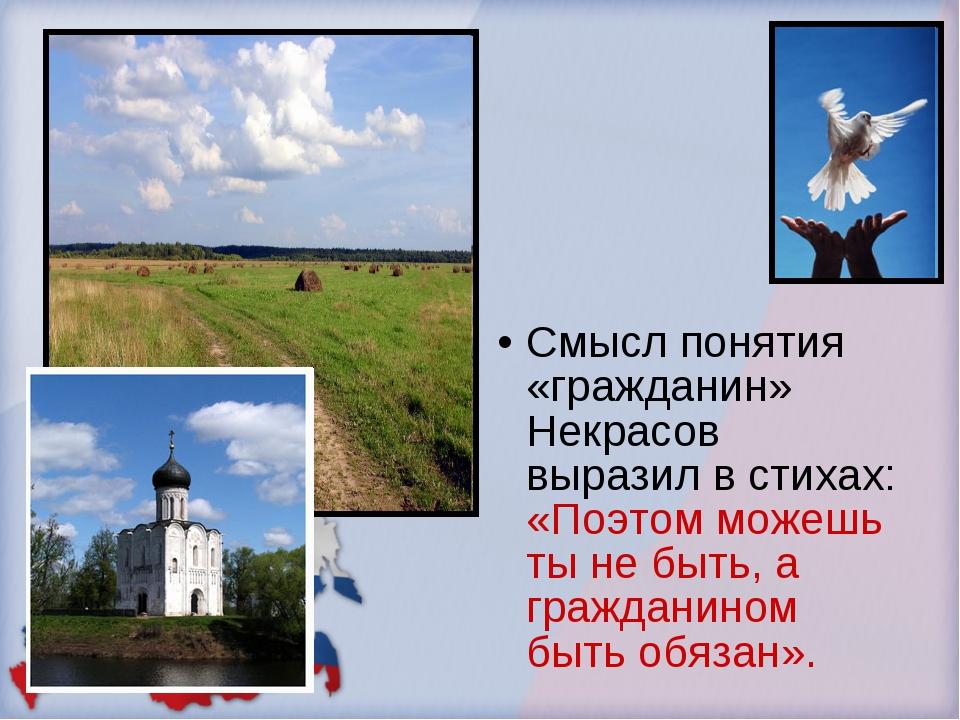 Смысл понятия «гражданин» Некрасов выразил в стихах: «Поэтом можешь ты не быт...