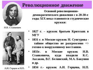 Основой революционно-демократического движения с в 20-30-е годы XIX века ста